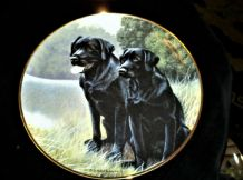 "FRANKLIN MINT GILDED DISPLAY PLATE SPORTING COMPANIONS BLACK LABRADOR 8"" LTD ED"
